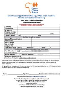 Debit Order Form | Peadric Debit Order Form Pediatric Care Africa