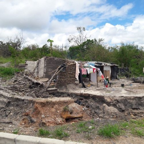 Most houses in villages are either damaged or destroyed.